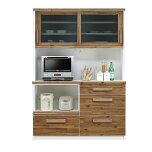食器棚レンジ台完成品引き戸幅140cmブラウンホワイト白木製和風モダン風