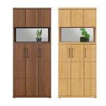 シューズボックス完成品幅80cmハイタイプブラウンナチュラル木製モダン風