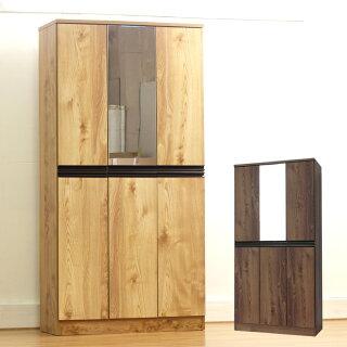 下駄箱完成品幅90cmハイタイプミラー付きブラウンナチュラル木製