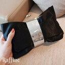 パーティーバッグ キュートなリボンモチーフ 黒 シルバー クラッチバッグ イブニングバッグ クレセントバッグ ストラップ付 20代 30代 40代