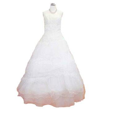 ロングドレス フォーマルドレス Aライン リボンウェディングドレス 9号 送料無料 L43