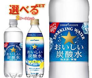 送料無料 ポッカサッポロ おいしい炭酸水・おいしい炭酸水レモン 選べる2ケースセット 600ml・500mllペットボトル×48(24×2)本入 北海道・沖縄・離島は別途送料が必要。