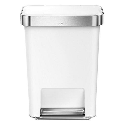 シンプルヒューマン CW1387 レクタンギュラー ステップカン ポケット付 ホワイト プラスチック 45L ゴミ箱 SIMPLEHUMAN