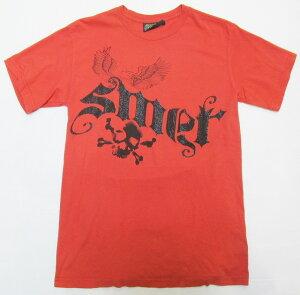 AF93)SMETストーン付デザインTシャツ半袖(C8DBAIAE) 赤オレンジ☆US購入