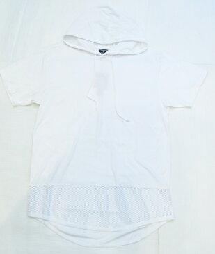AP91)VICTORIOUSメッシュデザインロングレングスパーカー半袖(TS294)白★B系HIPHOPカジュアルストリー大きいサイズキングサイズ