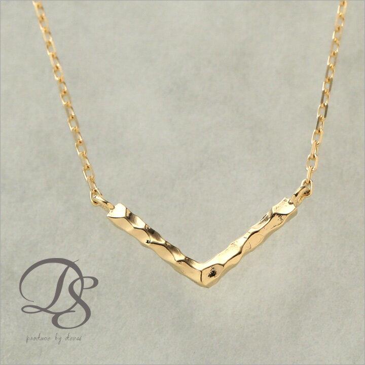 ゴールドネックレス Vバー 選べるサイズ展開 アジャスターカン付 ゴールド ネックレス k18 18金 gold necklacek 誕生日 プレゼント ギフト 送料無料 DEVAS ディーヴァス