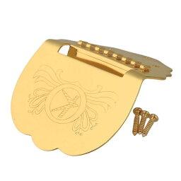 マンドリン用テールピース 弦楽器アクセサリ 彫刻入り 耐久性 メタル製 ゴールドメッキ