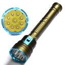 Diving Flashlight 9x CREE xm-l2 ledダイビングライト 14000 ルーメン+正規品TrustFire 保護回路付き18650リチウムイオン電池(3400mAh)* 3 付+USB型 2本用充電器付き 1