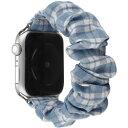 アイキューラボ AppleWatch 40mm/38mm用 シュシュバンド チェック柄(シュシュ付)TYPE-A ブルー AWSHOUCH401BL AWSHOUCH401BL