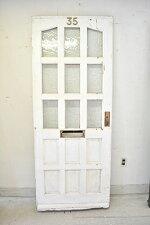 ドア/イギリス/扉/白/木製/建具/ヴィンテージ/リノベ/ガラス入り/玄関