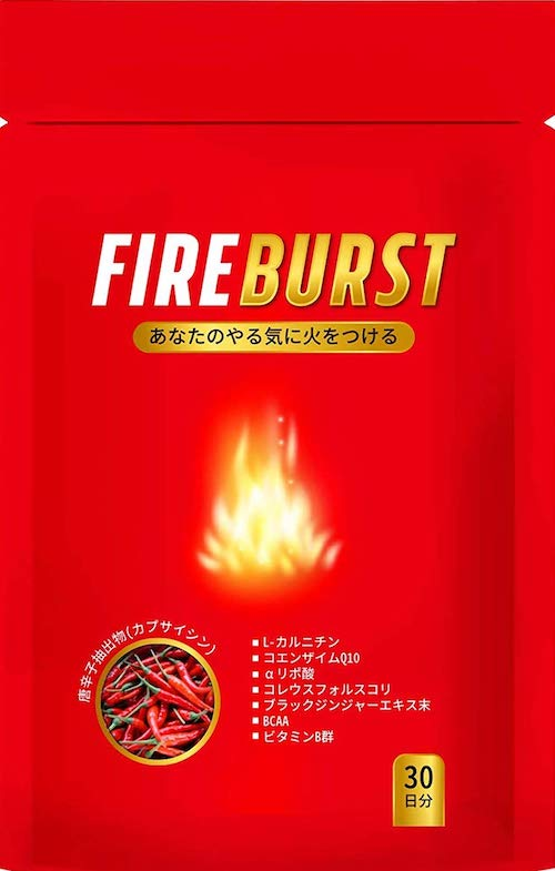 ダイエット サプリ 燃焼系サプリ ダイエットサプリ L-カルニチン α‐リポ酸 BCAA配合 カプサイシン 30日分 送料無料 FIREBURST