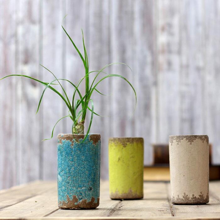 【おしゃれな植木鉢】煙突のようなstyleに、ゴツゴツとした風合い。インテリアとしても最高!サボテン、多肉植物にお勧め!JUNKテイスト陶器鉢【直径7cm、排水穴無し】※植物は商品に含まれません。