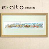 風景水彩画,北欧のイメージ/フレーム,パノラマ,港,北国,豪雪,町並み,船