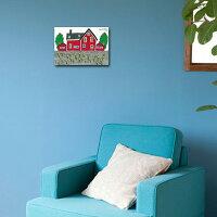 当店限定商品!人気イラストレーターyoridonoによる『REDHOUSE(赤い家)』壁掛けキャンバスアート【ヨーロッパフランスイギリス北欧猫】【イラスト絵画】
