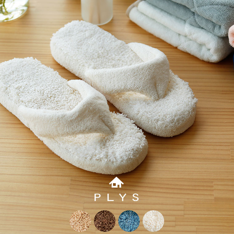 バスマットと同じ素材の中敷きを使った吸水性に富んだルームサンダル。特殊吸収素材の糸は、吸水しても乾きが早く、ムレ感もなし!鼻緒の部分にはコットン100%の生地を使用。ふんわりとした肌触りで足指も快適です。4色展開。  洗濯機での丸洗いもOK。洗い替え用に色違いを揃えておいてもいいですね。