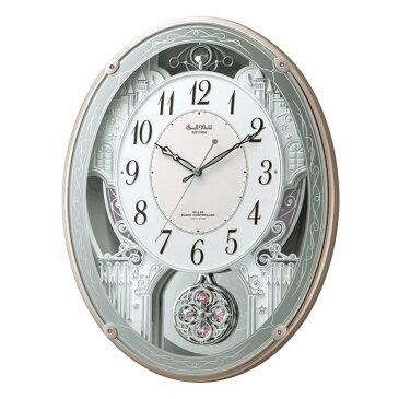 リズム 電波時計 掛け時計 掛時計 からくり時計 メロディ スモールワールドクオーレ 4MN516RH13 クロック CLOCK