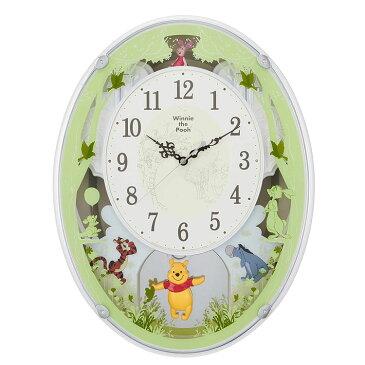 電波掛け時計 くまのプーさんM523 4MN523MC03 リズム時計 | クロック ミュージッククロック メロディクロック 柱時計 振り子時計 振り子付 電波時計 電波掛時計 壁掛け時計 キャラクター ディズニー 名入れ