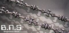 最高品質の鋭いクロスのチェーン大人気の定番モチーフシャープクロスリンクチェーンブレスレッ...