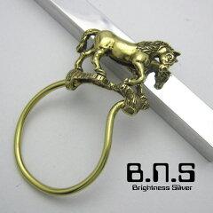 躍動感溢れる馬のキーリング金色の駿馬、ホースキーリング ブラス 真鍮(キーホルダー、キーチ...