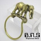 金色の象、アフリカゾウキーリング ブラス 真鍮(キーホルダー、キーチェーン、鍵、エレファント、ぞう、Loxodonta africana、動物)