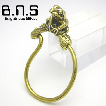 金色の蛙 ニホンアマガエルキーリング ブラス 真鍮 (動物キーホルダー カエル かえる 蛙)
