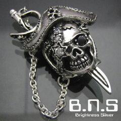 剣がつながれた、海賊船長のドクロパイレーツスカルペンダント3 ブラック黒 シルバー925&ジル...