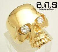 18ゴールドメッキCZアイキーススカルリングオリジナルモデルシルバー925&ジルコニア