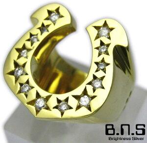 アメリカンテイストの蹄鉄、馬蹄の指輪です。CZストーンゴールドホースシューリング ブラス 真...