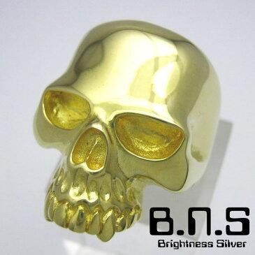 BNS特製 ゴールドキーススカルリング 真鍮 ブラス 髑髏 ドクロ どくろ