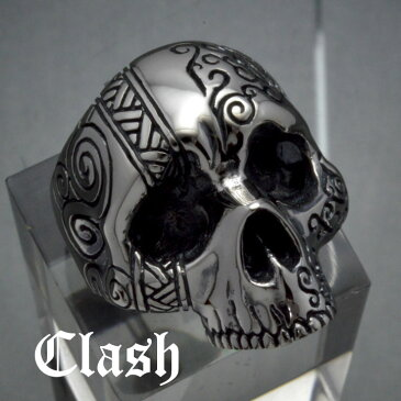 Clash タトゥースカルリング シルバー925 銀製 (skull ring ドクロ どくろ 髑髏 指輪,tattoo,刺青,唐草,アラベスク,)