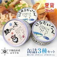 愛媛県立宇和島水産高校高校生がつくった缶詰3種セット(鯛めしの素・ぶりだいこん・ぶりあらだいこん)