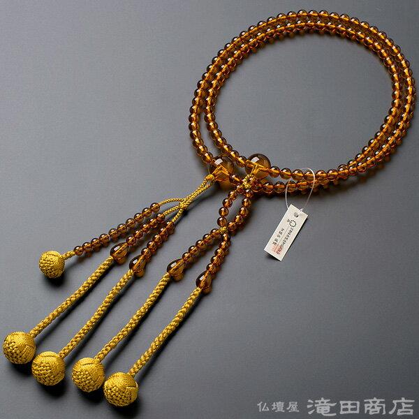 日蓮宗 数珠 男性用 本琥珀 尺2 正絹華梵天房