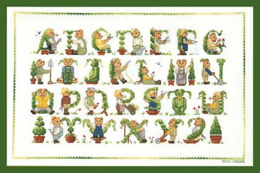 刺しゅうファンの憧れ♪【ル・ボヌール・デ・ダム】 刺繍キット 1125 Green bear sampler グリーンベアーサンプラー