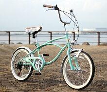 【送料無料】ビーチクルーザー20インチシマノ6段変速ミニベロ小径自転車TOPONEトップワンチェーンカバー自転車CC206W-46-