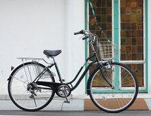 送料無料自転車26インチママチャリ軽快車シティサイクル26インチ乗り降りしやすい低床フレームTOPONE(トップワン)26インチシティサイクルおしゃれシマノ6段変速ギア/カゴ/ダイナモライト/後輪錠が標準装備!HCA266-43-DGダークグリーン【RCP】