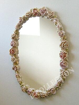 ロココ調 薔薇のデザインで囲みました♪壁掛けローズミラー鏡 ロココ プリンセス ヨー...