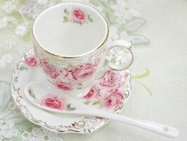 ロマンチックレースコーヒーカップ3点セットおしゃれ薔薇柄ティーカッププレゼントバラ雑貨花柄ロイヤルギフトセット姫系ホワイト結婚祝い誕生日カップコーヒー紅茶カップ陶器磁器食器洋食器キッチンアフタヌーンティー引出物引き出物