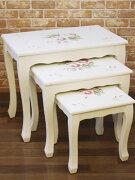 トールペイントネストテーブル ホワイト
