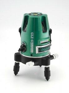 グリーンレーザー墨出し器GLZ-6-Wフルセット山真製鋸(本体+受光器+三脚セット)4方向大鋸ライン照射モデルメタリックグリーン