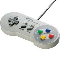【新品】【送料無料】バッファローSFCコントローラー風USBゲームパッドグレーBUFFALOスーパーファミコンスーファミSNESBSGP810GY