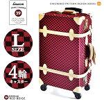 TSAロックHANAismトランクキャリーLサイズ21インチ4輪[34/レッドコットン]人気ブランドハナイズムレトロかわいいキャリーバッグ