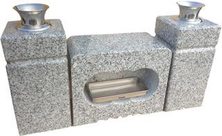 墓石用角型香炉と角型花立G603のセット【送料無料】