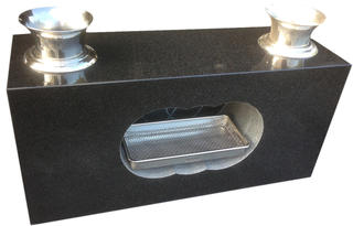 【新商品!!】黒御影石の香炉と花立一体型【送料無料】