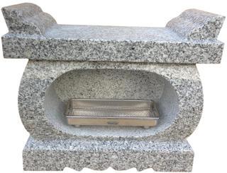 墓石用経机香炉白御影石【送料無料】サイズ約幅37×奥行16.5×高さ30〜31cmお墓のリフォーム!【空気穴加工】