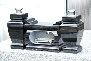 経机香炉花立セット黒御影石