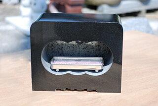 墓石用角型香炉黒御影石サイズ約幅30×奥行15×高さ24cm【送料無料】【空気穴加工】