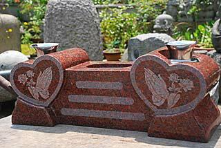 香炉・花立セット(インド赤御影)