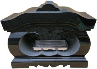 お墓のリフォーム!墓石用屋根付香炉黒御影石(宮型香炉)【送料無料】【空気穴加工】