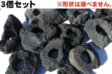 3個セット!【1個=1334円!】黒い溶岩石サイズ長辺約15〜20センチ(6cm穴あき)溶岩でできたフラワーポット(溶岩鉢)水槽(アクアリウム)のレイアウトに♪【もう1個サービス中!】【送料無料】※形状お任せになります。