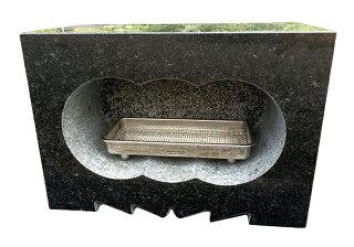 【国産】【浮金石】【福島県産黒御影石】墓石用角型香炉サイズ約幅30×奥行15×高さ21cm【送料無料】【自社茨城工場加工】【空気穴加工】